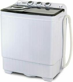 26 LBS Compact Washing Machine Twin Tub Laundry Spin Dryer w