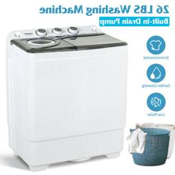 26 LBS Portable Washing Machine Compact Twin Tub Laundry Spi