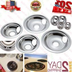 4 GE Hotpoint Chrome Stove Drip Pans Electric Burner Covers